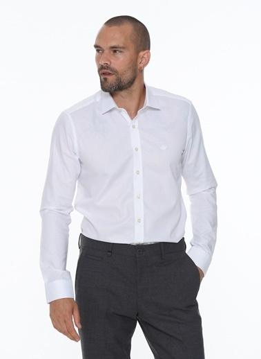 Beymen Business 4B2020200007 Mavi Slim Fit Gömlek Armürlü Beyaz